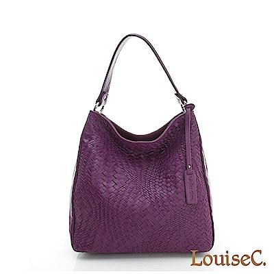 LouiseC.羊皮編織大方包 --- 紫色LC4322-10