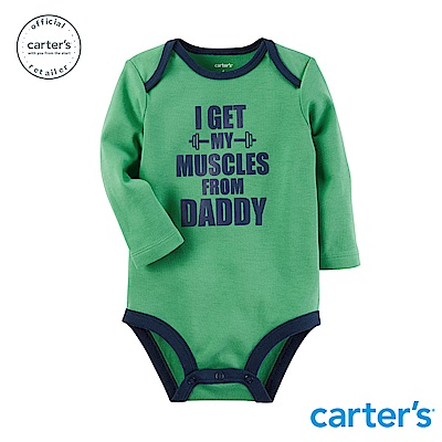 Carter s台灣總代理 趣味圖文綠色長袖包屁衣