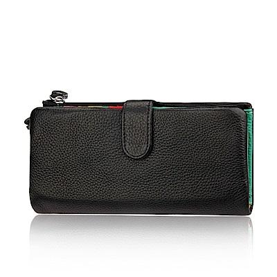 GT8239BK真皮可拆卡位帶拉鍊女長夾手拿包錢包黑色