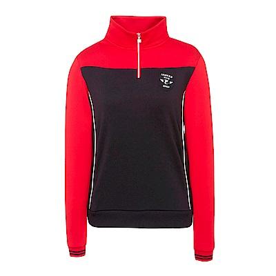 FILA 女款吸濕排汗半門襟T恤-黑 5TES-5462-BK