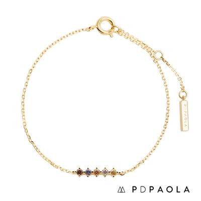 PD PAOLA 西班牙輕奢時尚品牌 Sage 五色光芒鍍18K金彩鑽手鍊