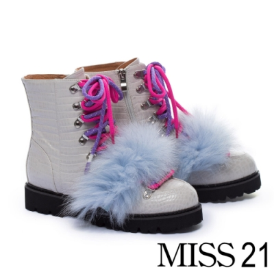 短靴 MISS 21可拆式狐狸毛裝飾鱷魚壓紋綁帶厚底登山短靴-灰
