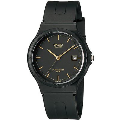 CASIO 簡單生活風時間腕錶-黑X金丁刻(MW-59-1E)/28mm
