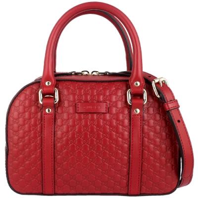 GUCCI Guccissima 紅色真皮壓紋兩用斜背/保齡球手提包