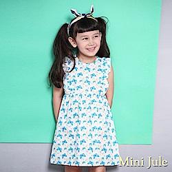 Mini Jule 洋裝 滿版蝴蝶樹葉荷葉裝飾無袖洋裝(藍)