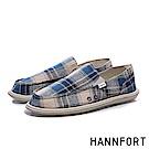 HANNFORT COZY毛呢格紋氣墊懶人鞋-男-格紋藍
