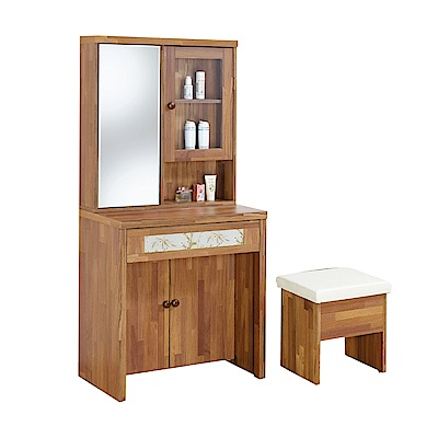綠活居 比威多2尺鏡台組合(含椅+旋轉式鏡面)-60x45x160cm-免組