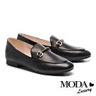 低跟鞋 MODA Luxury 經典時尚鉚釘條帶飾釦全真皮樂福低跟鞋-黑