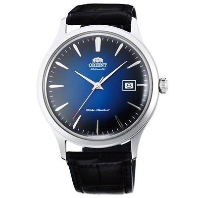ORIENT東方DATEⅡ簡約時尚真皮械錶手錶-藍X黑/42mm