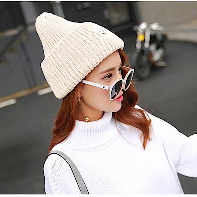 梨花HaNA-韓國可愛簡單的方塊笑臉毛帽-白色-紫