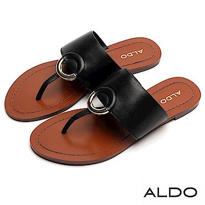 ALDO 原色真皮鏤空金屬環T字夾腳涼鞋~尊爵黑色