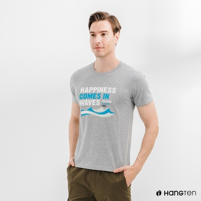 Hang Ten-男裝-海洋文字印花T恤-灰色