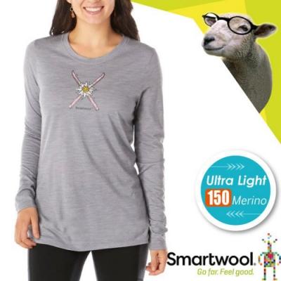 SmartWool 女 塗鴉雪花 超輕彈性透氣長袖圓領T恤_淺灰色