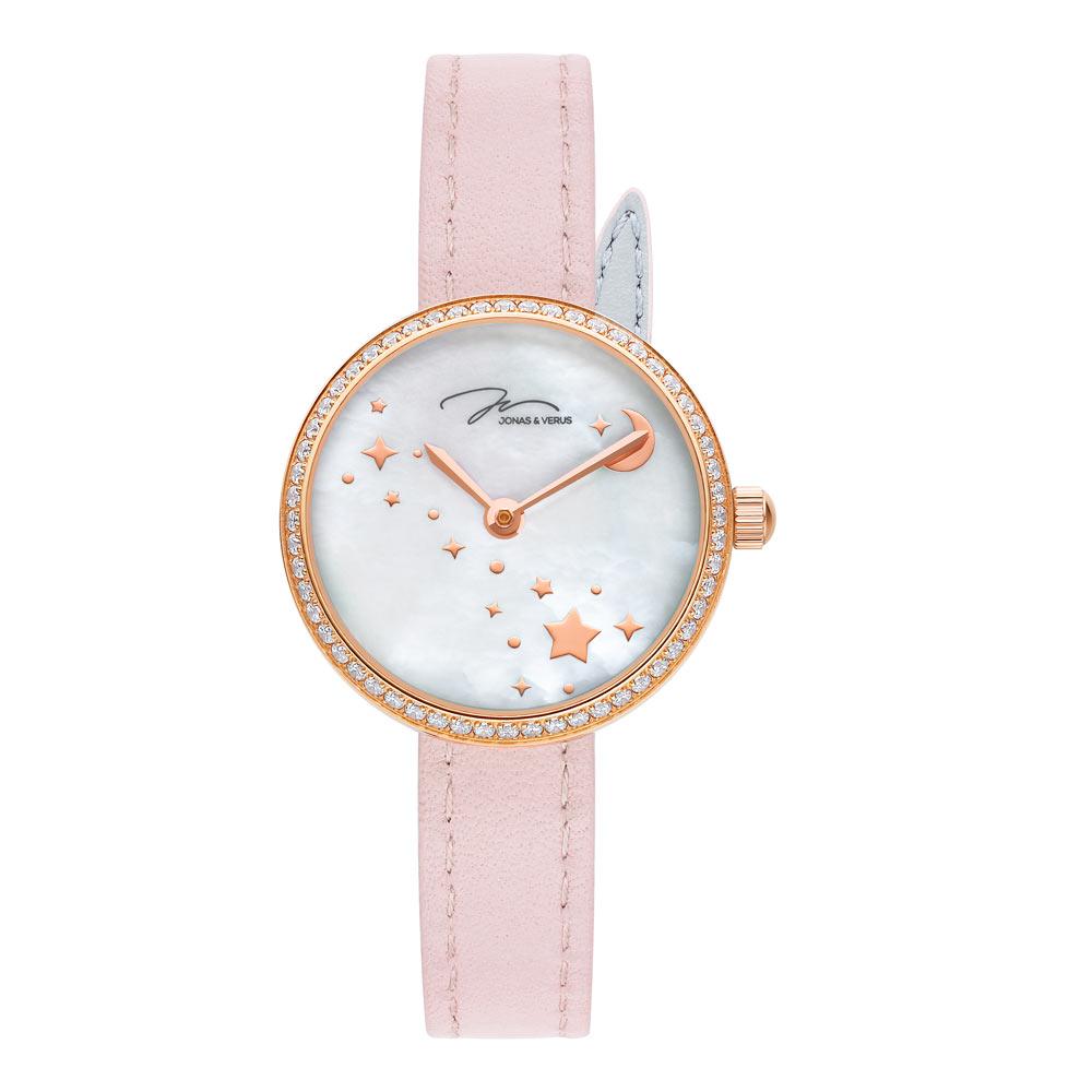 J&V-尋光系列 星空錶-珍珠母貝面盤/粉紅色皮帶-(L25.10.PWLRD)-25mm