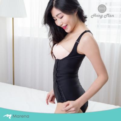 【Marena】強效完美塑形系列 護腰美背比基尼型排扣式塑身衣 黑色