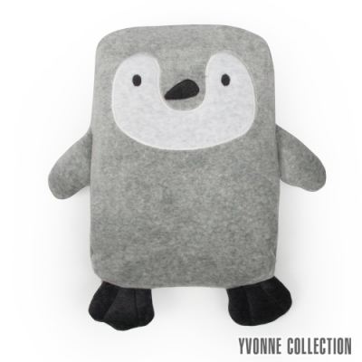 YVONNE COLLECTION 企鵝背包萬用被(附防走失牽繩)-淺灰白/嬰兒藍