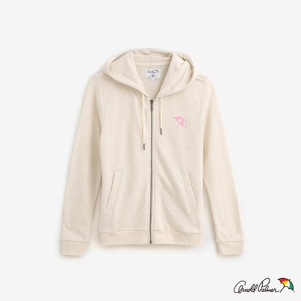 Arnold Palmer-女裝-彩點紗毛巾布長袖連帽外套-米