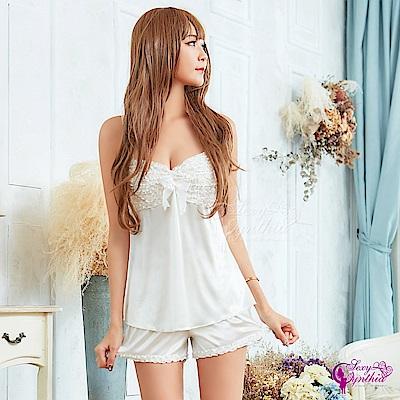 Sexy Cynthia性感睡衣 甜美純白柔緞睡衣短褲二件組-白F