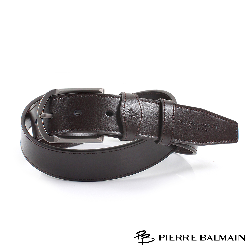 【PB皮爾帕門】方圓框光滑面二層牛皮休閒針扣皮帶(885)