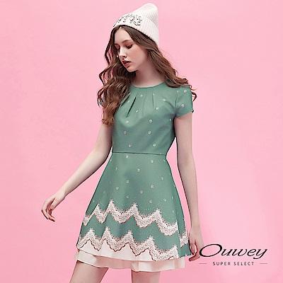 OUWEY歐薇 復古花卉小袖印花洋裝(綠)