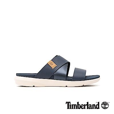 Timberland 女款海軍藍休閒平底露跟涼鞋|A1XPH