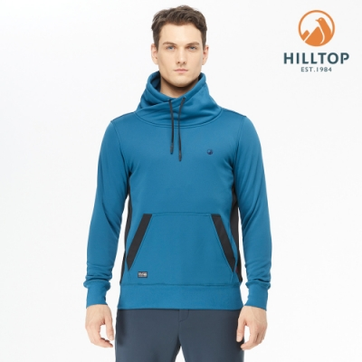 【hilltop山頂鳥】男款POLYGIENE抗菌立領保暖刷毛上衣H51MJ2摩洛哥藍