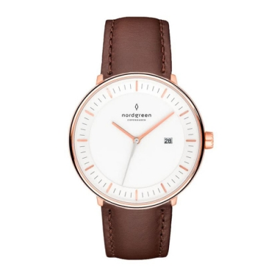 Nordgreen Philosopher 深棕真皮錶帶腕錶-40mm(PH40RGLEDBXX)