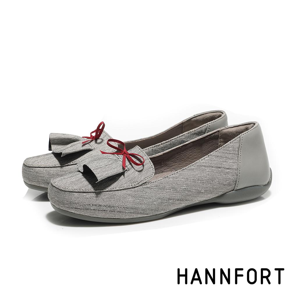 HANNFORT RIPPLE裙襬搖搖蝴蝶結淑女鞋-女-知性灰
