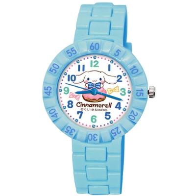 Sanrio三麗鷗 數字轉圈系列手錶Cinnamoroll大耳狗34mm粉藍色