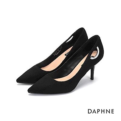達芙妮DAPHNE 高跟鞋-鑽飾挖空絨布高跟鞋-黑