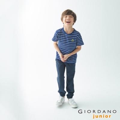 GIORDANO 童裝3M抗污透氣彈性運動休閒束口褲-15 深花藍