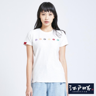 EDWIN EDO KATSU江戶勝 繽紛LOGO繡花 短袖T恤-女-米白