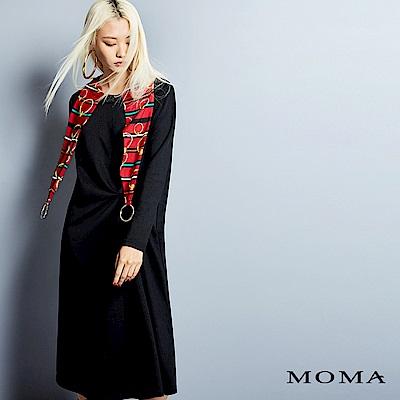 MOMA 假兩件絲巾連帽長洋裝