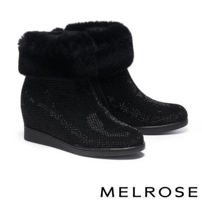 短靴 MELROSE 低調奢華暖感兔毛內增高短靴-黑