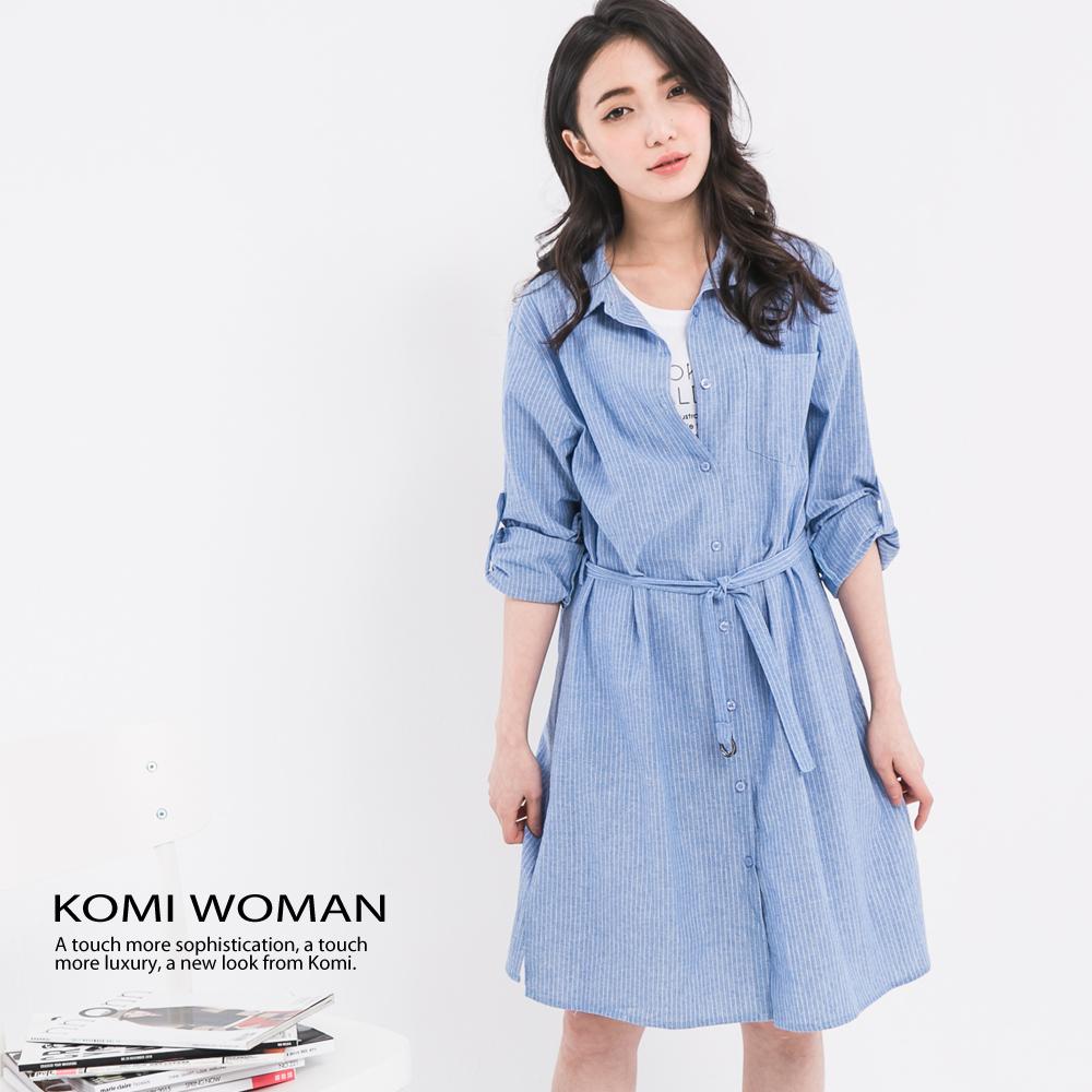 【KOMI】牛津棉布條紋襯衫式洋裝‧附腰帶