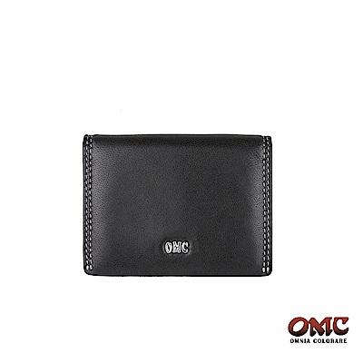 OMC 羊皮翻蓋3卡透明窗名片夾-黑色