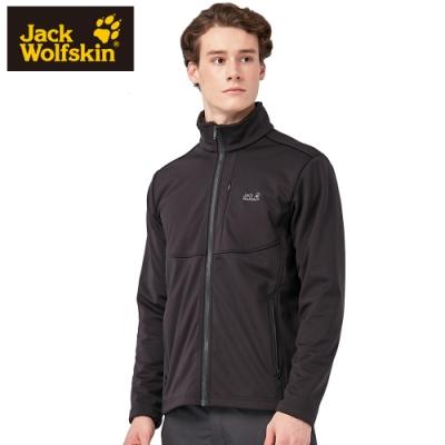 【Jack wolfskin 飛狼】男 立領防風內絨毛保暖外套 軟殼外套『黑色』