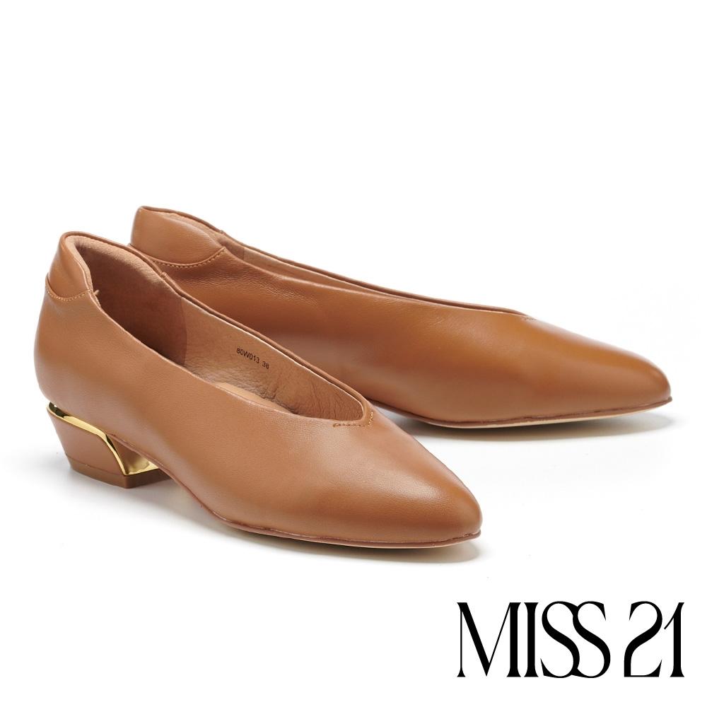 低跟鞋 MISS 21 復古奶奶風極簡舒適羊皮粗低跟鞋-咖