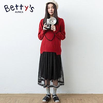 betty's貝蒂思 條紋拼接透膚網紗裙(黑色)