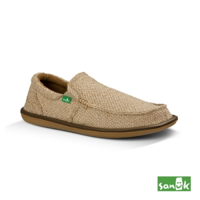 SANUK 男款 US9 帆布編織懶人鞋(米色)