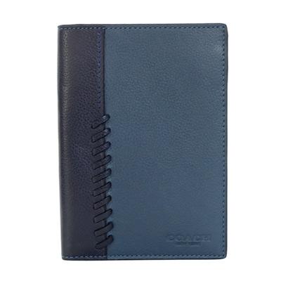 COACH單寧藍編織拼接全皮雙摺護照夾
