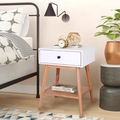 E-home Jordan喬丹實木單抽層板邊桌 白色