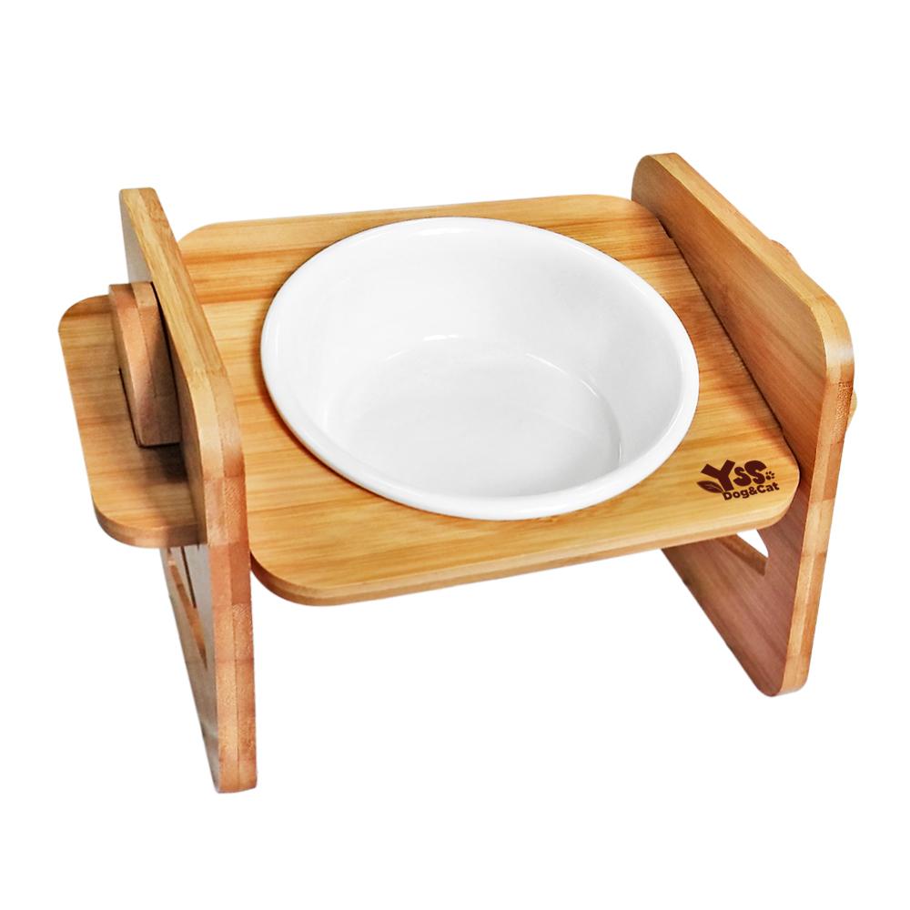 JohoE嚴選 職人木匠可調式斜面寵物餐桌附瓷碗-單碗