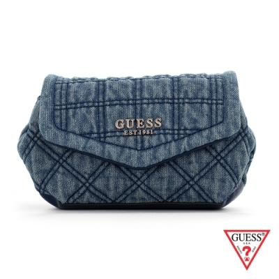 GUESS-女包-經典丹寧菱格紋鍊條腰包-藍 原價2490