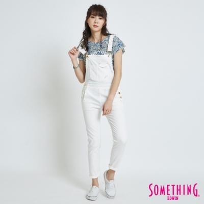 SOMETHING CELEB 基本款 吊帶牛仔褲-女-白色