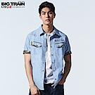 Big Train 加大出芽牛津素色襯衫-男-淺藍