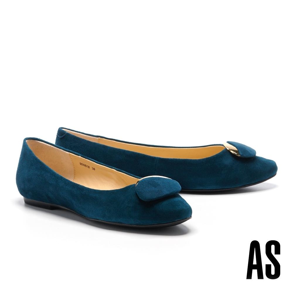 平底鞋 AS 典雅氣質金屬橢圓釦飾全羊皮方頭平底鞋-藍