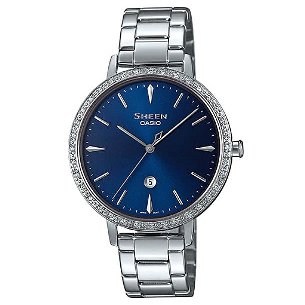 SHEEN 雅致質感藍寶石玻璃鏡面銀鍊腕錶-璀璨藍面(SHE-4535YD-2A)/34.3mm