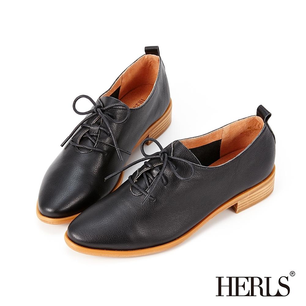 HERLS牛津鞋-全真皮素面綁帶橢圓頭牛津鞋-黑色