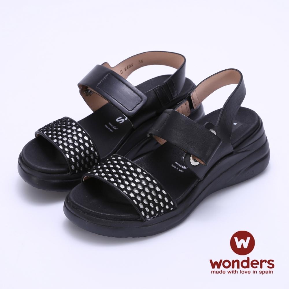 WONDERS西班牙進口 一字寬帶水鑽魔鬼氈楔型涼鞋-黑色